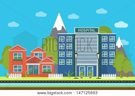 Flat urban landscape poster with buildings on a background of mountain peaks vector illustration