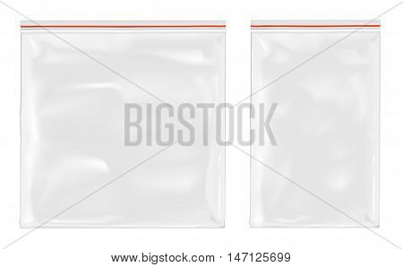 White empty plastic packaging with zipper. Mock up.