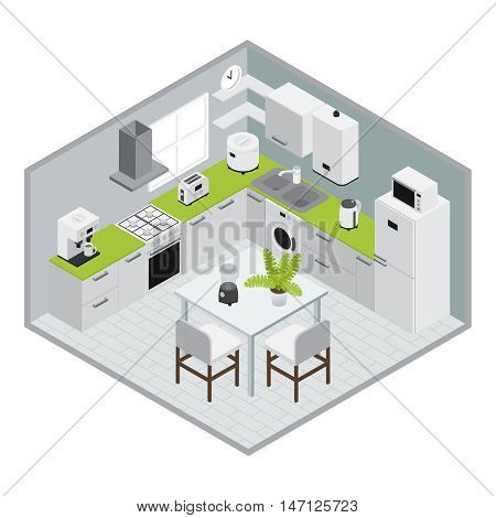 Home appliances isometrics kitchen composition in 3d design with walls and floor vector illustration