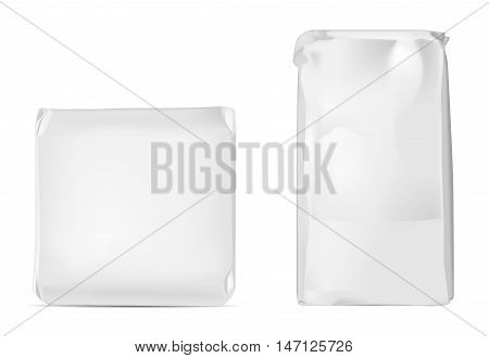 White blank foil or paper packaging isolated on white background. Sachet for soap coffee spices sweets cookies and flour.