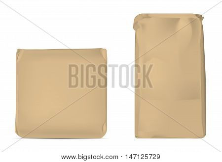Brown blank foil or paper packaging isolated on white background. Sachet for soap, coffee, spice,s sweets, cookies and flour.