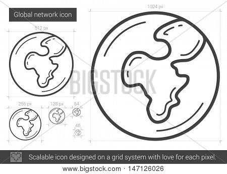 Global network vector line icon isolated on white background. Global network line icon for infographic, website or app. Scalable icon designed on a grid system.