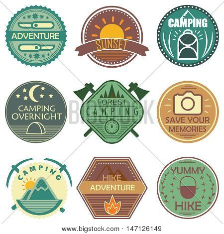 Camping colored emblems in soft tones with hiking gear natural sceneries and ornaments isolated vector illustration