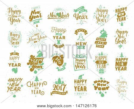 Happy New Year 2017 typographic emblems set. Vector logo design. Usable for banners, greeting cards, gifts etc.