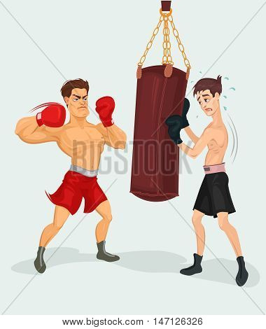 Vector illustration of a boxer practicing with a punching bag