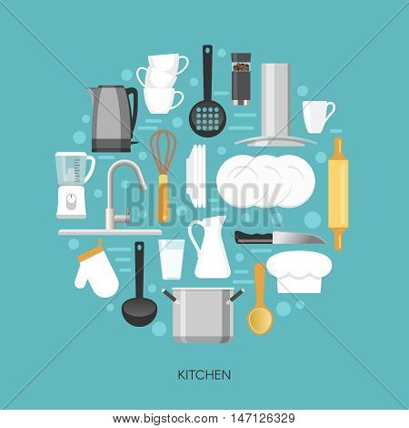 Kitchen round composition with household appliances faucet crockery and utensils on blue background vector illustration