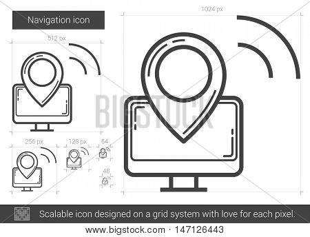 Navigation vector line icon isolated on white background. Navigation line icon for infographic, website or app. Scalable icon designed on a grid system.