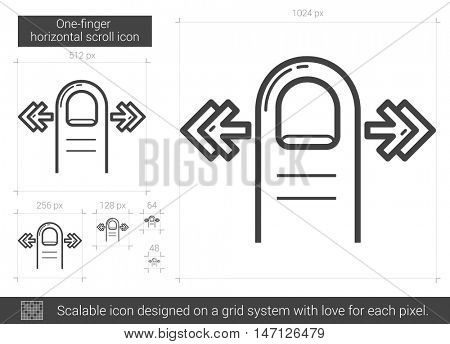 One-finger horizontal scroll vector line icon isolated on white background. One-finger horizontal scroll line icon for infographic, website or app. Scalable icon designed on a grid system.