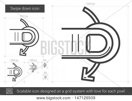 Swipe down vector line icon isolated on white background. Swipe down line icon for infographic, website or app. Scalable icon designed on a grid system.
