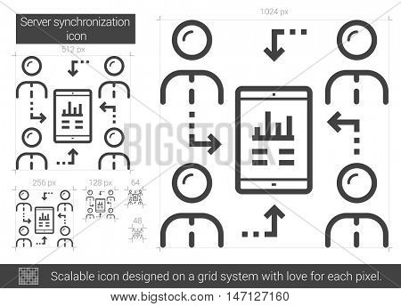 Server synchronization vector line icon isolated on white background. Server synchronization line icon for infographic, website or app. Scalable icon designed on a grid system.