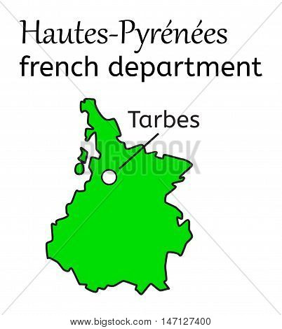 Hautes-Pyrenees french department map on white in vector