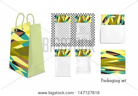 Transparent empty plastic and paper packaging. Colorful sachet with hang slot.