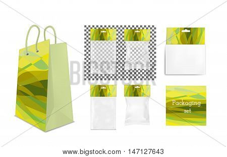 Transparent empty plastic and paper packaging. Blank sachet with hang slot.