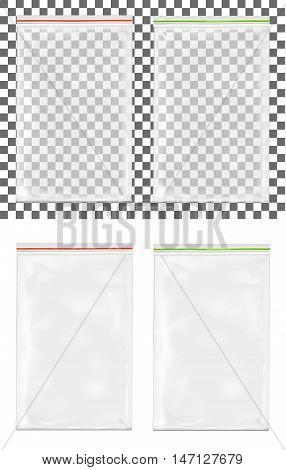 Transparent empty plastic packaging with zipper. Mock  up.
