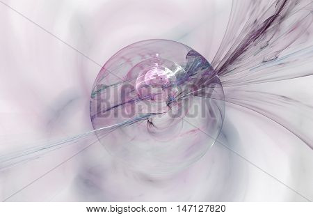 Abstract fractal drop on white background. Computer-generated fractal globule in grey and rose colors.