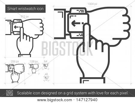 Smart wristwatch vector line icon isolated on white background. Smart wristwatch line icon for infographic, website or app. Scalable icon designed on a grid system.