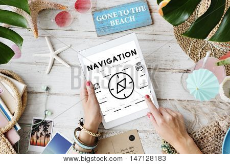Hands Using Tablet Navigation Graphic Concept