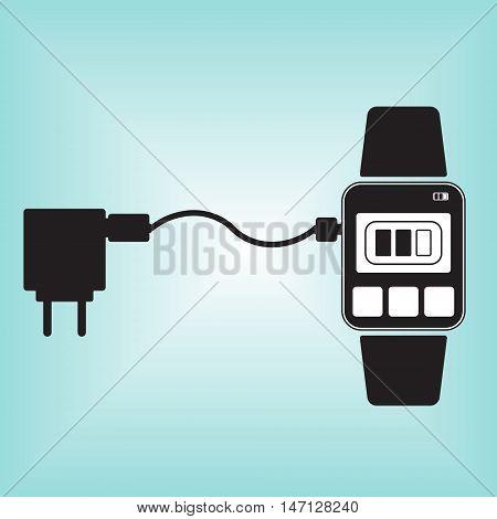 Charging smart watch vector icon. Recharging smart watch vector sign. Isolated smart watch vector logo.