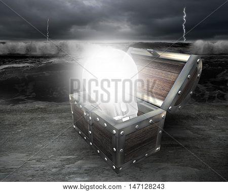 3D Bright Light Bulb In Treasure Chest