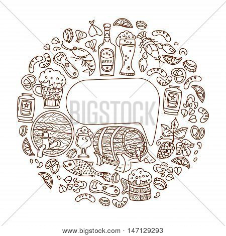 Unique Oktoberfest illustration. The barrel mug beer cancer hops and other characters. Vector hand-drawn doodles. With room for your text.