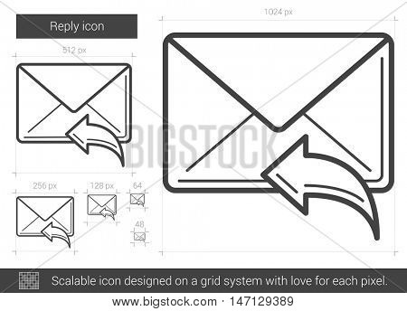 Reply vector line icon isolated on white background. Reply line icon for infographic, website or app. Scalable icon designed on a grid system.