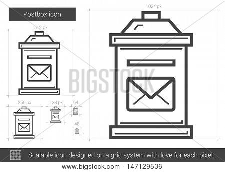Postbox vector line icon isolated on white background. Postbox line icon for infographic, website or app. Scalable icon designed on a grid system.