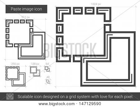 Paste image vector line icon isolated on white background. Paste image line icon for infographic, website or app. Scalable icon designed on a grid system.