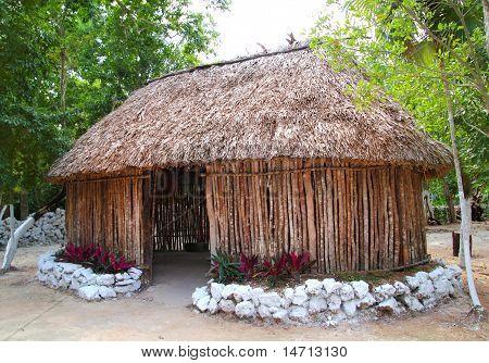 Mayan Mexico Wood House Cabin Hut Palapa