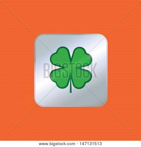 Clover vector sign. Silver clover vector icon. Isolated vector logo.
