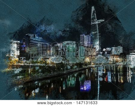 Cityscape of Ho Chi Minh at night with bright illumination of modern architecture, Vietnam. Modern painting, background illustration, beautiful picture, creative image.