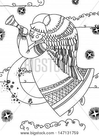 Angel with a flute flying in the night sky. Vector illustration. Contour drawing. Isolated on white background.