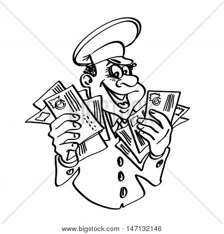 Postman with letters in hand. Contour drawing. Isolated on white background.