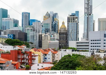 SINGAPORE, REPUBLIC OF SINGAPORE - JANUARY 09, 2014: Singapore city skyline with old colonial and modern buildings