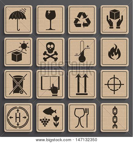 Set Of Packaging Symbols in a paper official style. Icon set including waste recycling, fragile, this side up, handle with care, keep dry and other caution handling symbols. Vector illustration.