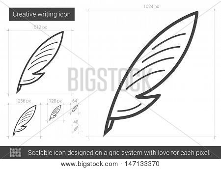 Creative writing vector line icon isolated on white background. Creative writing line icon for infographic, website or app. Scalable icon designed on a grid system.