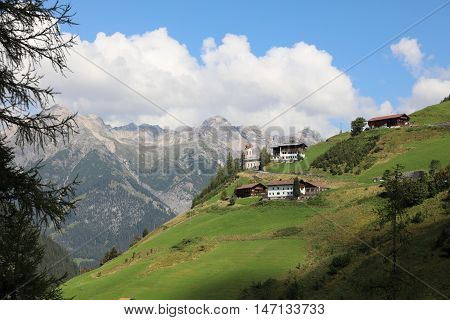 The small Municipality Kaisers in Lech Valley. Tirol. Austria