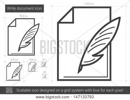 Write document vector line icon isolated on white background. Write document line icon for infographic, website or app. Scalable icon designed on a grid system.