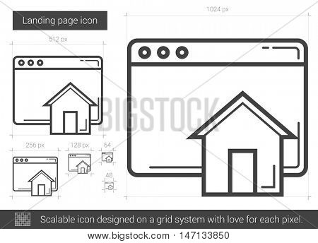 Landing page vector line icon isolated on white background. Landing page line icon for infographic, website or app. Scalable icon designed on a grid system.