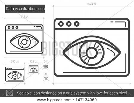 Data visualization vector line icon isolated on white background. Data vizualization line icon for infographic, website or app. Scalable icon designed on a grid system.