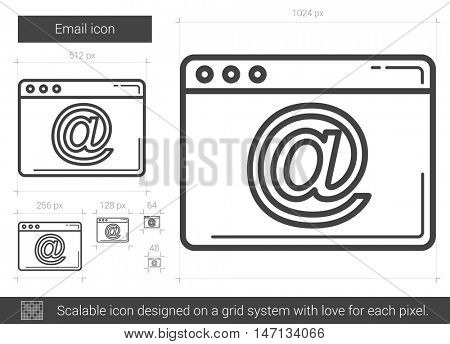 Email vector line icon isolated on white background. Email line icon for infographic, website or app. Scalable icon designed on a grid system.