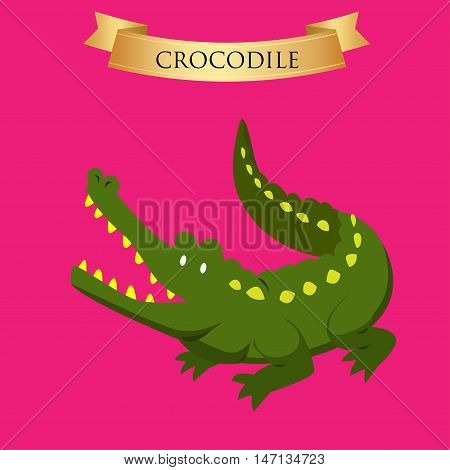 Big green crocodile on a pink background. Vector illustration
