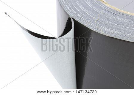 Adhezive cloth tape black, isolated on white
