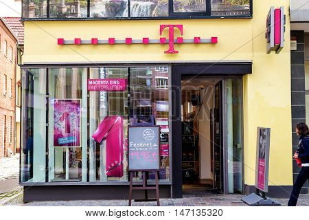 Rostock, Germany - August 22, 2016: the logo of the telecommunication company Deutsche Telekom - German Telekom