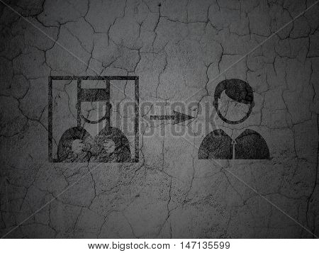 Law concept: Black Criminal Freed on grunge textured concrete wall background