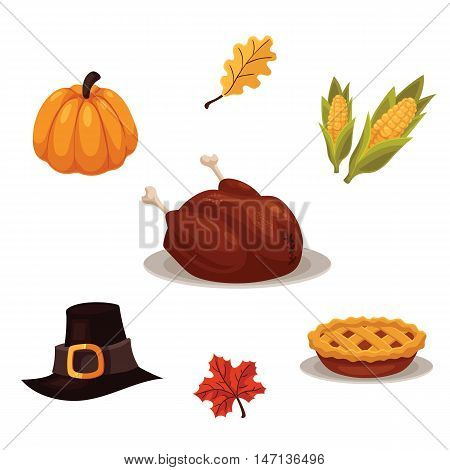Set of traditional thanksgiving symbols - turkey, pumpkin, pilgrim hat, pie and corn, cartoon style illustration isolated on white background. Collection of thanksgiving icons