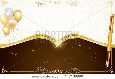 Elegant brown background with balloons and a golden shiny pen, for any occasion: weddings invitations, birthday cards, congratulations. Print colors used