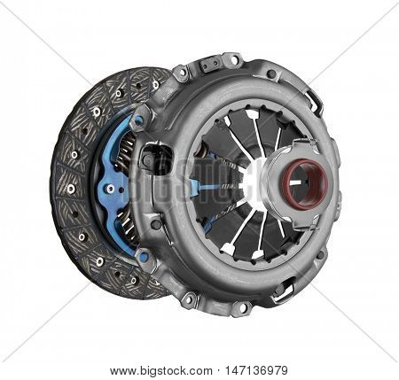 Disc and clutch basket with release bearing, isolated on white background