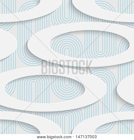 Abstract Ellipse Pattern. Seamless Geometric Background. Vector White and Blue Wallpaper