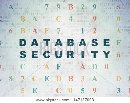 Programming concept: Painted blue text Database Security on Digital Data Paper background with Hexadecimal Code