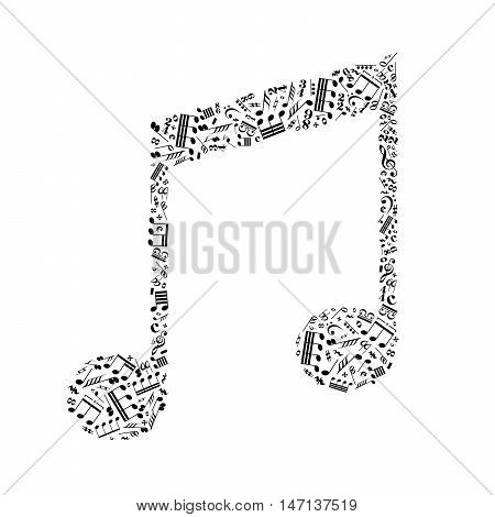 Music note sign made up from a lot of little black music signs isolated on white